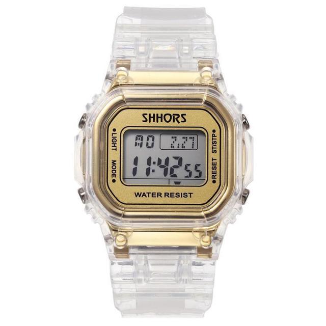 ファッションメンズレディース腕時計ゴールドカジュアル透明デジタルスポーツウォッチ恋人のギフト時計防水子供子供の腕時計