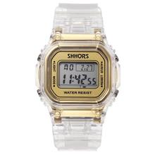Fashion Men Women Watches Gold Casual Transparent Digital Sport Watch Lovers Gift Clock Waterproof Children Kids Wristwatch