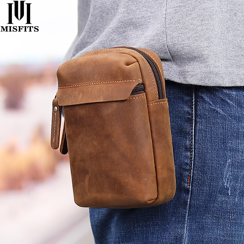 MISFITS Crazy Horse Leather Waist Packs Men Vintage Small Fanny Pack With Cigarette Case Belt Phone Bag Male Hook Loops Bum Bag