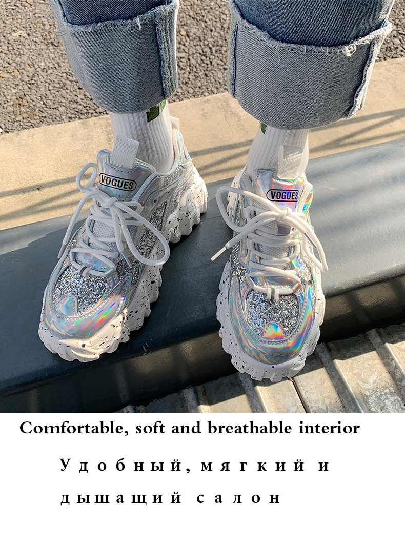 H89cd8a7e69714496af1c68b64b4e3722U - Sneakers Women Spring Fashion Sequined Cloth Bling Breathable Round Toe Leisure Chunky Women Shoes Tenis Feminino TUINANLE