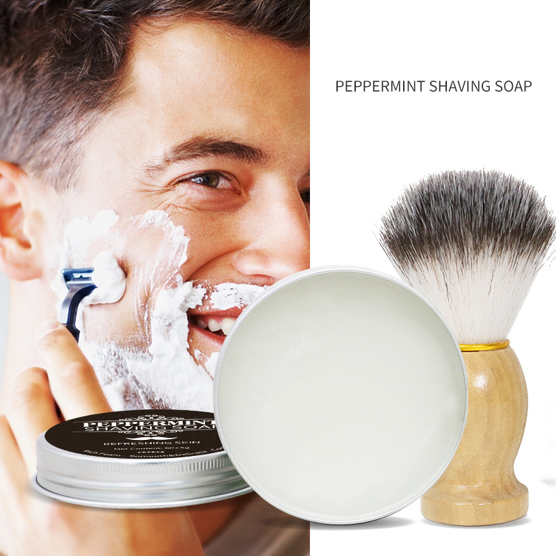 60g Mint Scented Men's Shaving Soap Aluminum Boxed Foam Rich Gentle Not Stimulating Natural Handmade Soap Skin Care Beauty Soaps