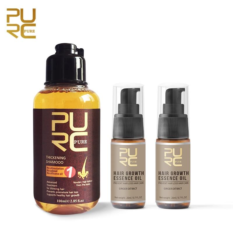 Pure Ginger Hair Shampoo Fast Hair Growth Essence Oil Alopecia Restoration Anti Fall Hair Treatment