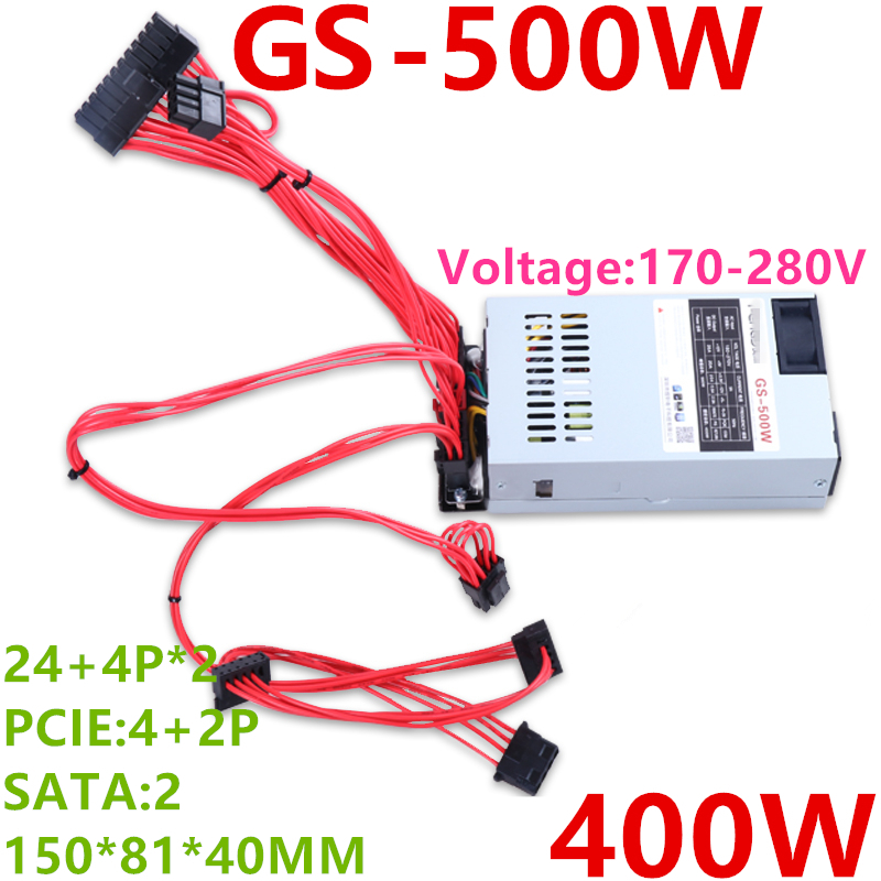 New PSU For Fenge ITX K39 K35 K49 S3 M41 M24 M47  FLEX Small 1U Rated 400W Peak 500W Power Supply GS-500W
