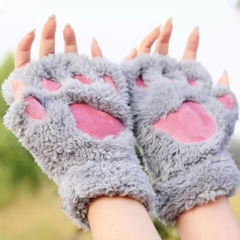 X 2020 New Beautiful Women Cute Cat Claw Paw Mitten Winter Soft Warm Half Finger Gloves Plush Suit Beautiful