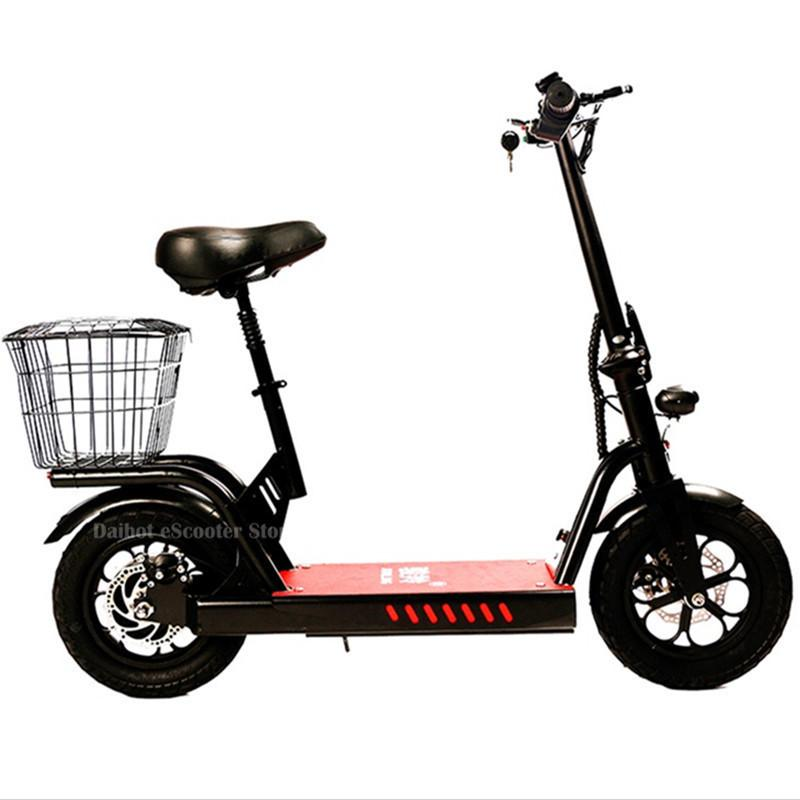 Electric Bikes Adults With Seat Basket Two Wheels Electric E Bike Foldable Electric Scooter 400W 48V Range 80KM