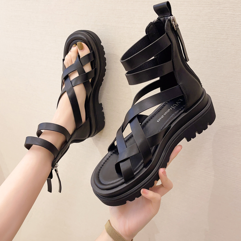 2021 Brand New Women's Platform Gladiator Sandals Ladies Black Leather Shoes Woman Chunky High Heels Summer Sandals