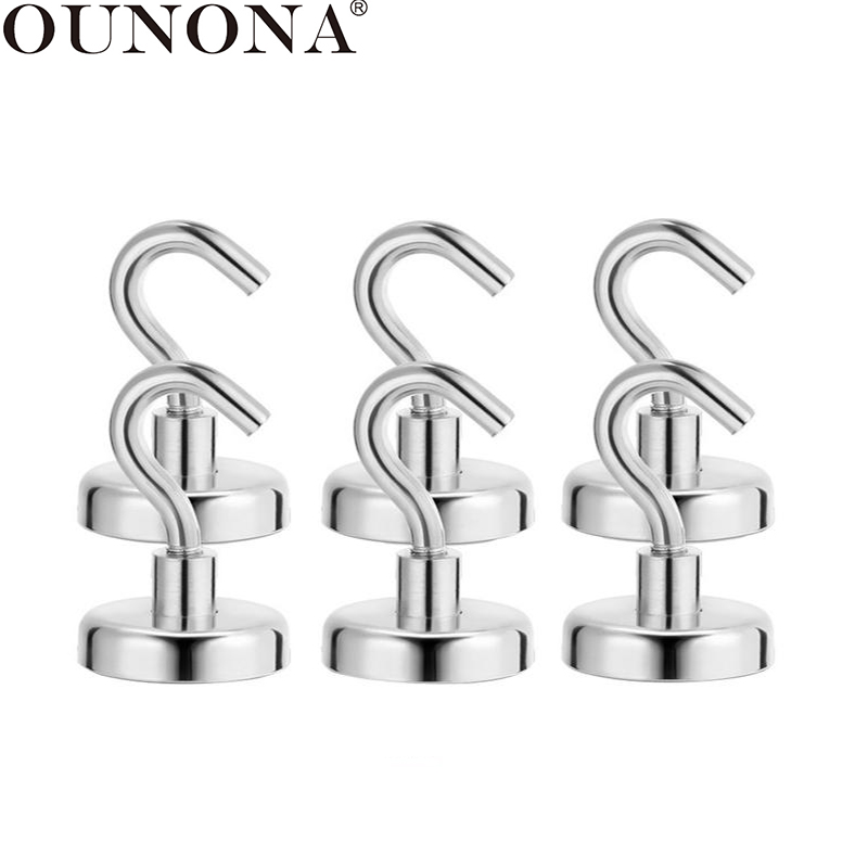 OUNONA 6 Pcs Magnetic Hooks Powerful Heavy Duty Neodymium Magnet Hanger Strong Magnetic Cup Hanging Hangers Key Coat Wall Hook(China)