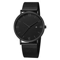 Czarna luksusowa moda męskie minimalistyczne zegarki siatka ze stali nierdzewnej zegarek z branzoletką mężczyźni Business Casual analogowy zegar kwarcowy Ultra cienki