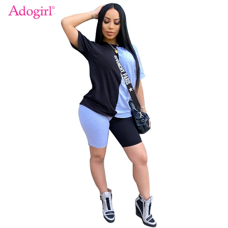 Adogirl Plus Size S-3XL Color Patchwork Casual Two Piece Set Women Fashion Summer Tracksuit Short Sleeve Loose T Shirt Shorts