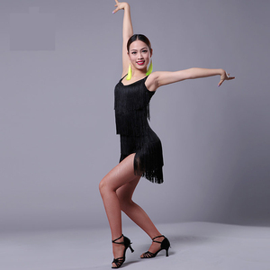 Image 4 - Latin Dress 2019 New Adult Modern Ballroom Latin Dance Dress tassel Fringe Salsa Tango Dance Wear Black Performance Stage Wear