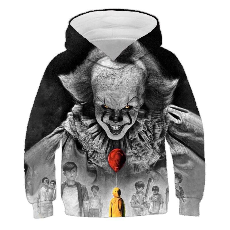 Movie Stephen King IT Clown Pennywise 3D Printed Hoodie Cosplay Costume Boy Girl Cartoon Clown Halloween Sweatshirt