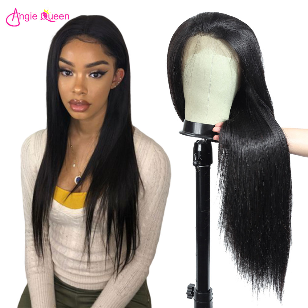 Angie Queen 360 Lace Frontal Wig Straight Human Hair Wigs Remy Hair Brazilian Wig Human Hair Wigs For Black Women 8-24 Inches