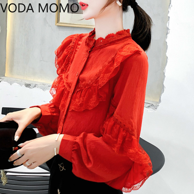 Ruffles red Lace Stitching Shirt Autumn New Fashion Lace Blouse Women Puff Sleeve Sweet Sexy Womens Tops Blusas De Mujer 4