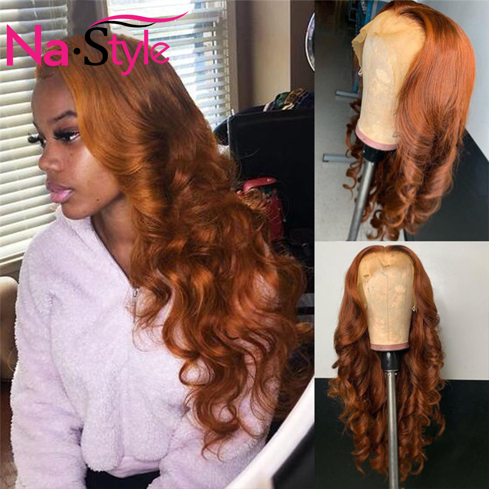 Ginger Orange Wig Human Hair Colored Body Wave Lace Front Wig 180 Density 13X6 Lace Front Human Hair Wigs Preplucked Lace Wig