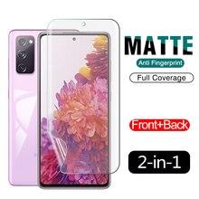Protector de pantalla de hidrogel 2 en 1 mate, película suave para Samsung Galaxy S20 FE Plus, cobertura Ultra completa en S20FE S20Plus S20Ultra 5G