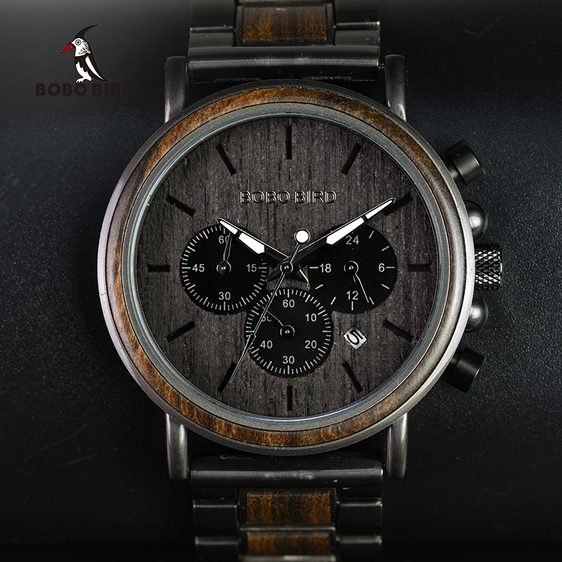 BOBO BIRD Chronograph Men Watch Wooden Luxury Stainless Steel Quartz Wristwatches with Calendar relojes de marca