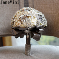 JaneVini Bling Bling Crystal Wedding Bouquet Gray Leaf Jewelry Decoration Beaded Pearl Rhinestone Bridal Bouquet Holding Flowers