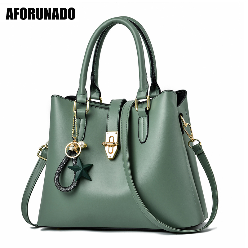 Luxury Handbags Women Bags Designer Solid Leather Pendant Tote Shoulder Bag Fashion High Quality Crossbody Bags For Women 2020