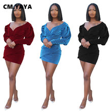 CM.YAYA-vestido Midi ajustado con manga larga para mujer, minivestido Sexy con escote en V, cintura alta, para fiesta y Club, 2021