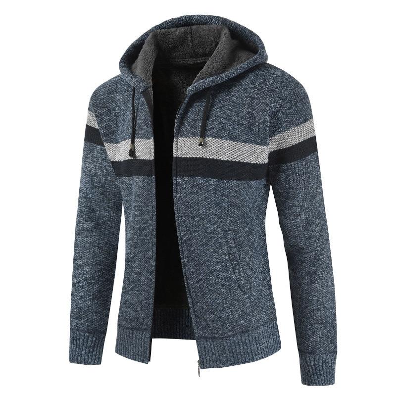 NEGIZBER Men's Sweater Fashion Wild Simple Striped Sweater Casual Hooded Plus Velvet Sweater Men