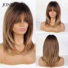 JONRENAU długie naturalne fale Dark bown Ombre popiołu brązowe włosy peruki syntetyczne Party codziennego użytku peruka dla białych czarnych kobiet