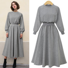 CINESSD The Sexy Streetwear Maxi Dress Women Autumn Winter Cotton Solid Long Sleeve Oneck Empire Casual Vestidos Plus Size