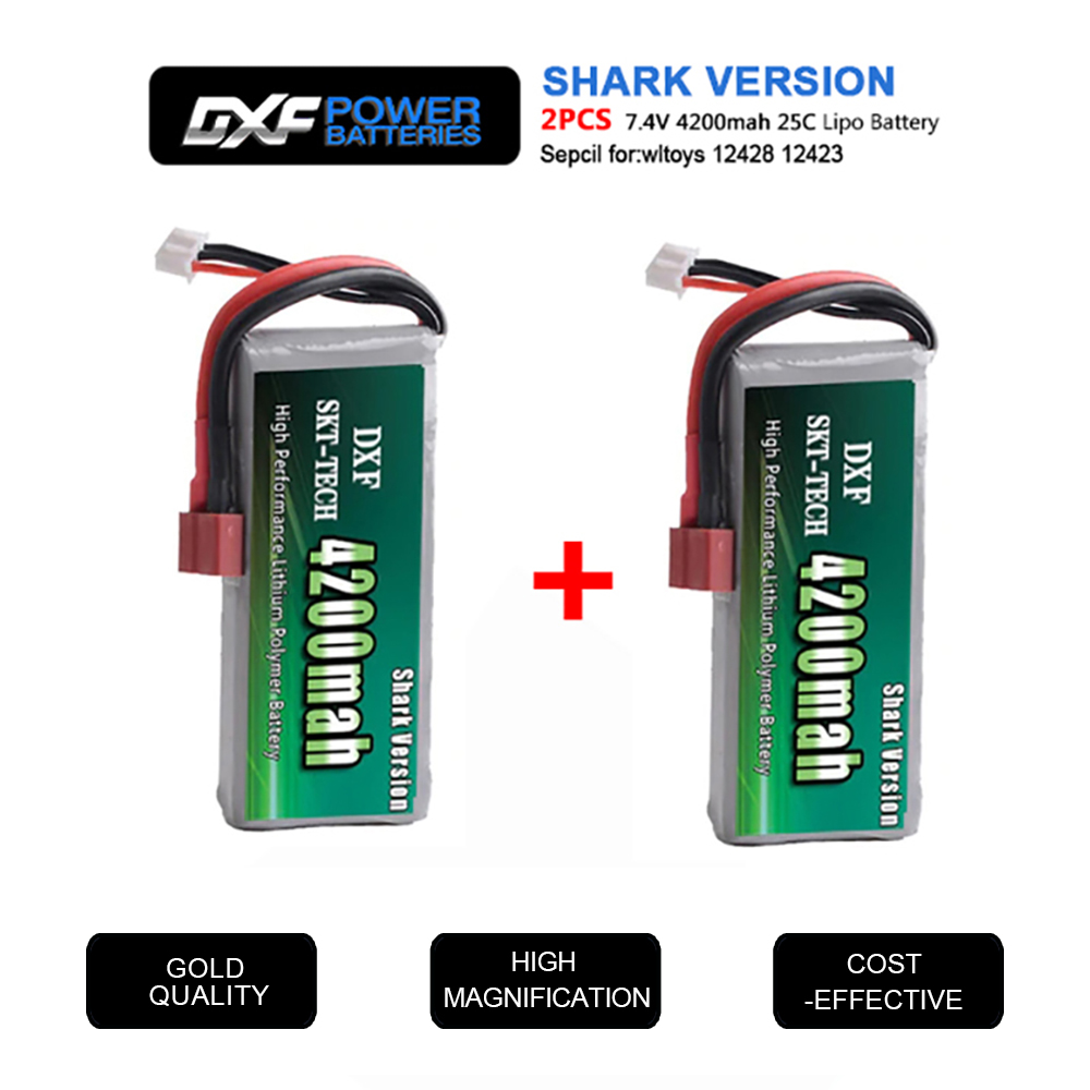 2PCS DXF RC Lipo Battery 2s 7.4V 2700mAh 4200mah 20C Max 40C For Wltoys 12428 Feiyue 03 JJRC Q39 Upgrade Parts
