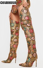Embroidery  over the knee boots
