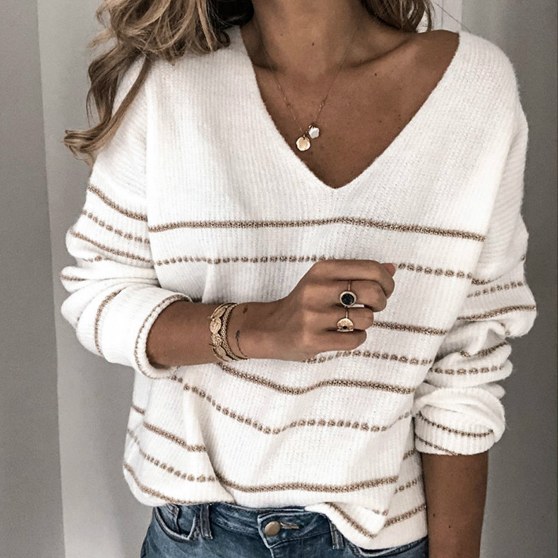 Women Spring Cute Autumn Sweater New Striped V Neck Knitted Pullover Casual Loose Fashion Sweaters White Grey Female Tops