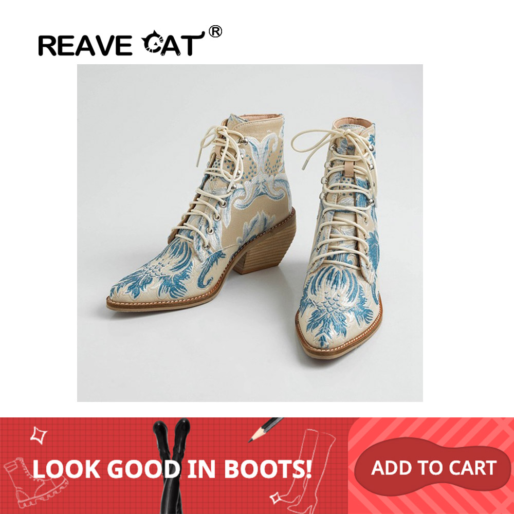 REAVE CAT 2020 Retro Embroidery Boots Women block heels Ankle Boots flower wedding Party Shoes image