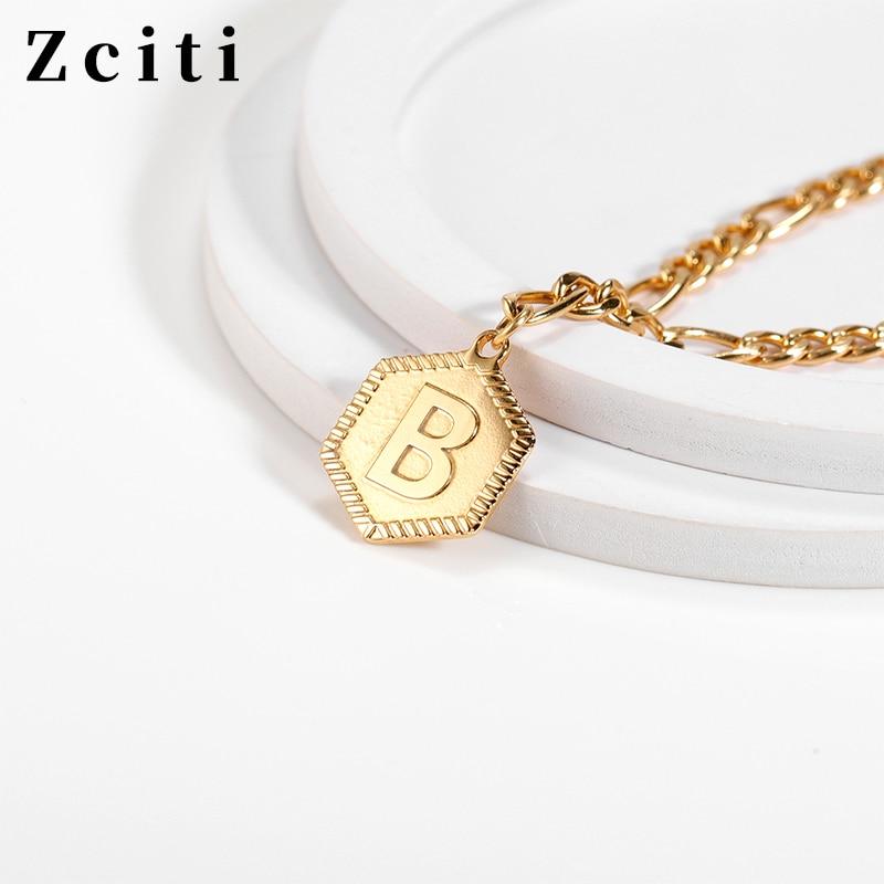 Custom A-Z Initial Letter Bracelet For Women Stainless Steel Hexagon Pendant Bracelet Female Nameplate Alphabet Neck Jewelry