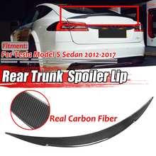 1x Real Carbon Fiber Car Rear Trunk Boot Lip Spoiler Wing Big Lip For Tesla Model S Sedan 2012-2019 Wing Spoiler