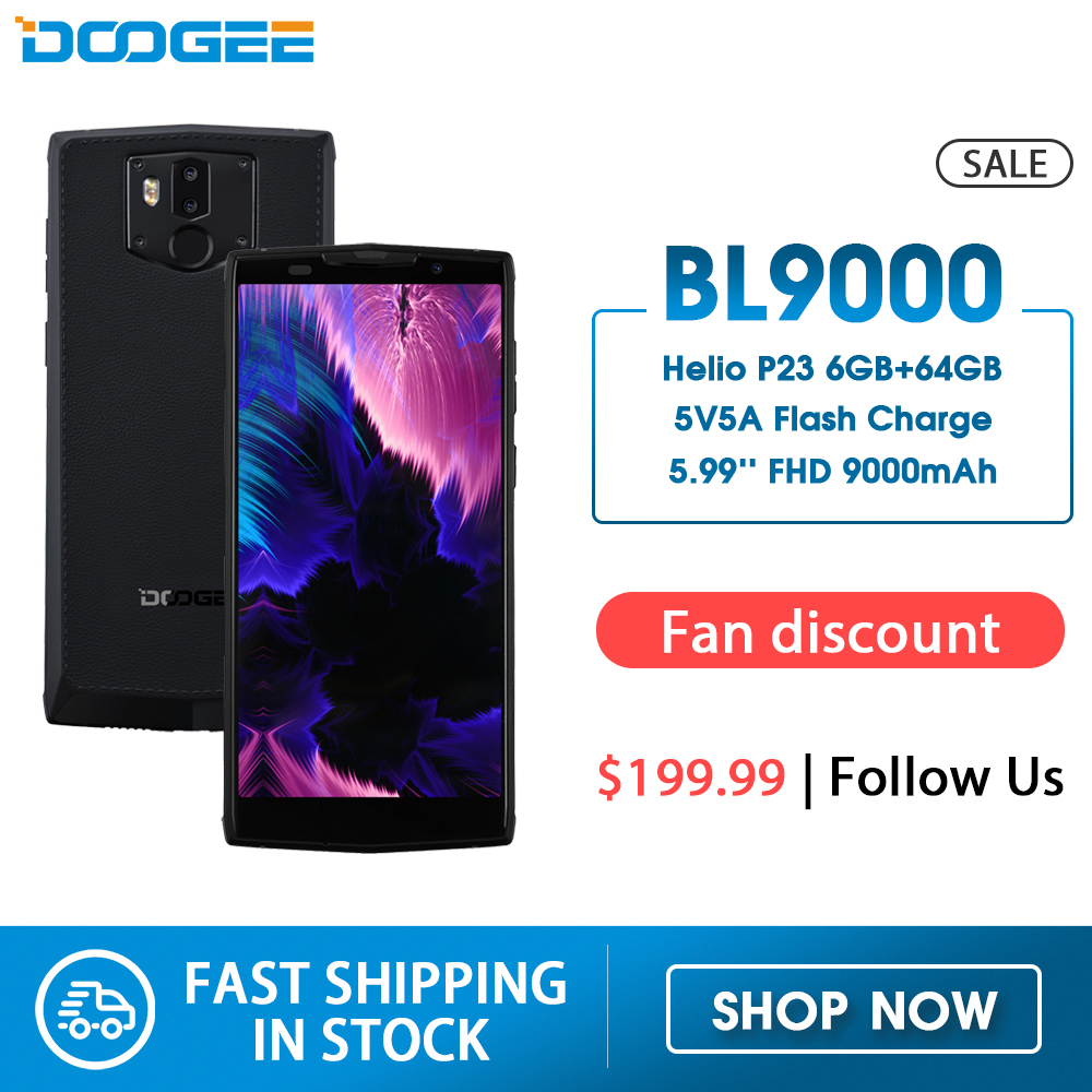 """DOOGEE BL9000 Smartphone 6GB 64GB Helio P23 Octa Core 5V5A Flash Charge 9000mAh Wireless Charge 5.99"""" FHD+ Android 8.1(China)"""