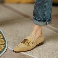 New Spring/Autumn Round Toe Low Heel Pumps Slip-on Shoes Fashion Camel Buckle Casual Kid Suede Women Loafers Solid British Style