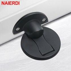 NAIERDI – butée de porte magnétique en acier inoxydable 304, supports cachés, loquet de sol pour toilettes, quincaillerie de meubles