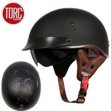 TORC T55 vintage moto rcycle casque rétro scooter demi casque avec lentille intégrée visière casco moto casque moto capacete para DOT