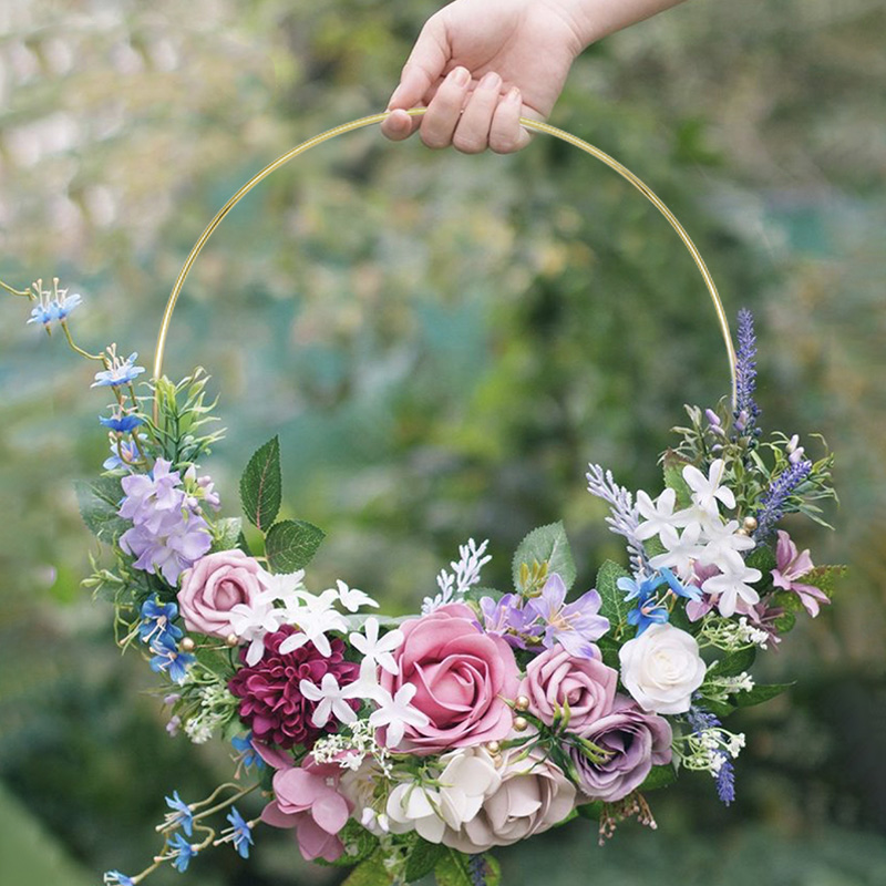 10-40cm Artificial Metal Flower Wreath Gold Iron Ring Wedding Party Deco Supplies DIY Handmade Floral Hoop Home Hanging Ornament