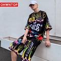 Hip Hop Men's Sets T Shirt+Shorts Colorful Funny Letter Printed Men Streetwear Cartoon High Street Oversized Tee Shirts Clothing