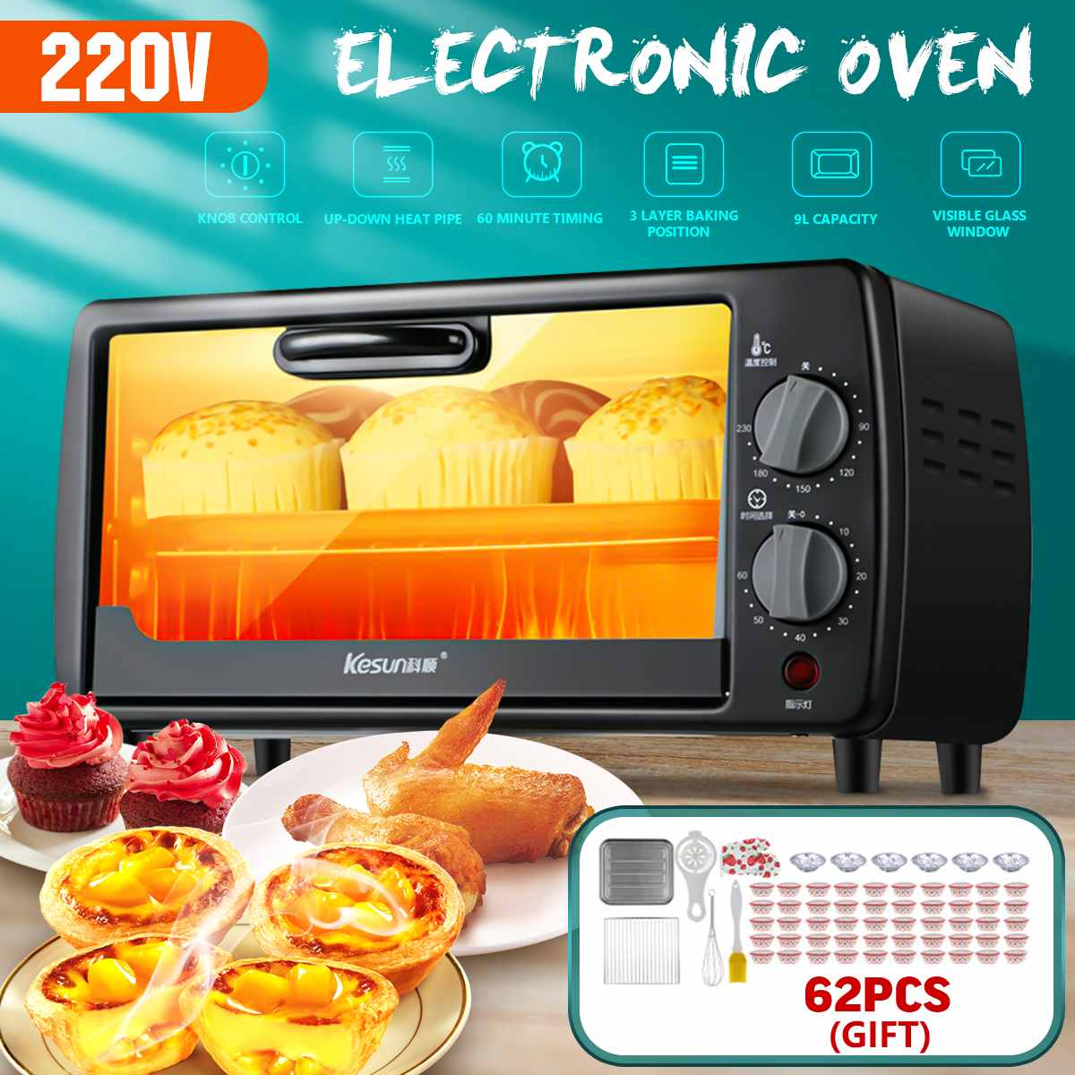 600W 9L Multifunctional Household Electric Oven Durable Mini Intelligent Timing Baking/Dried Fruit/Barbecue Bread Baking Oven