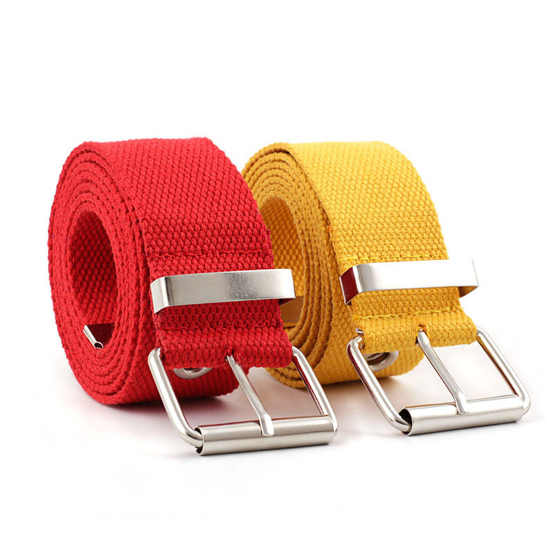 2020 New Designer Harajuku Long Wide Black White Red Yellow Canvas Web Belt Women Men Casual Grommet Metal Buckle Strap Belts