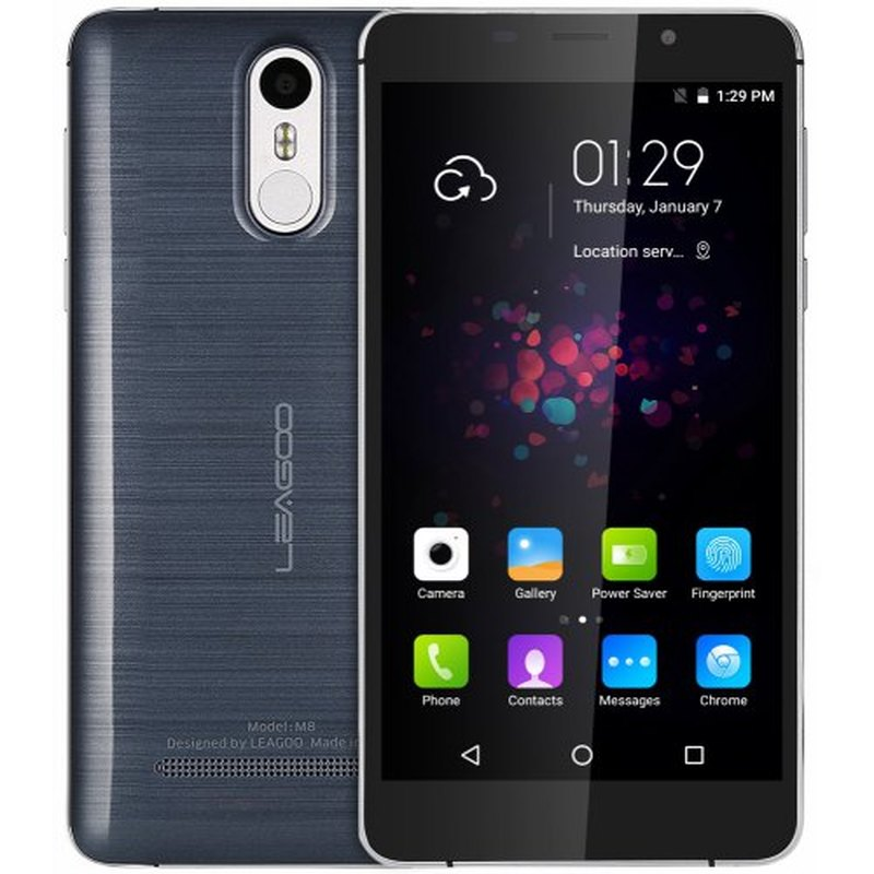 Leagoo M8 Smartphone 2GB RAM 16GB ROM 5.7 Inch IPS Android 6.0 MT6580A Quad Core 3500mAh 13.0 MP Fingerprint ID 3G Mobile Phone