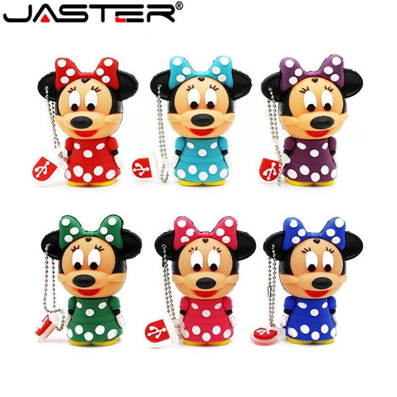 JASTER Cute Mickey Minnie Mouse USB Flash Drive Pendrive 4GB 8GB 16GB USB Stick External Memory Storage Pen Drive 6 Colors