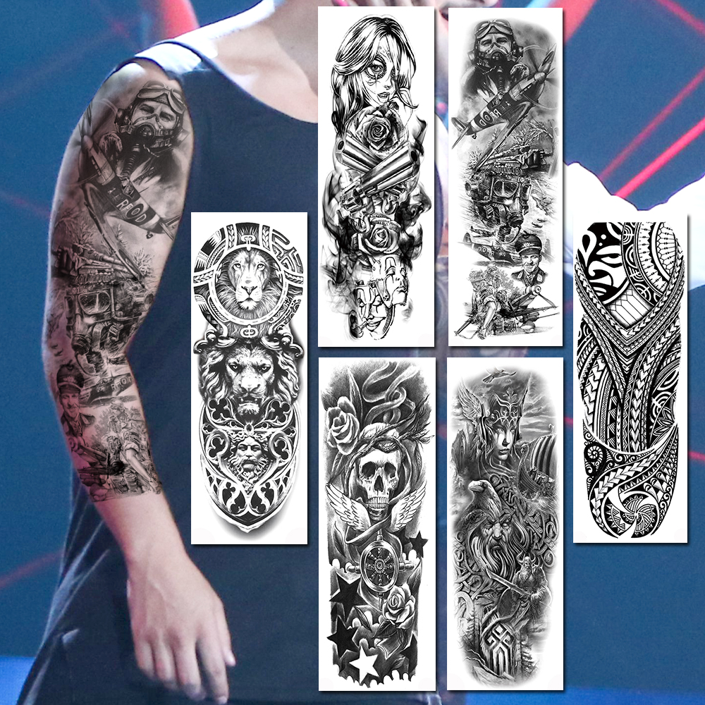 Full Arm Large Tatoos Sticker For Women Men Realistic Fake Black Soldier Mask <font><b>Gangster</b></font> Skull Totem Lion Sleeve Temporary <font><b>Tattoos</b></font> image