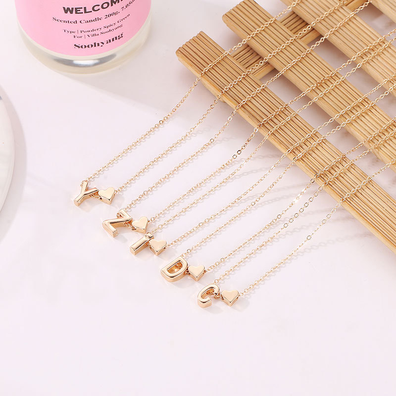 SUMENG Fashion Tiny Heart Dainty Initial Personalized Letter Name Choker Necklace For Women Pendant Jewelry Accessories