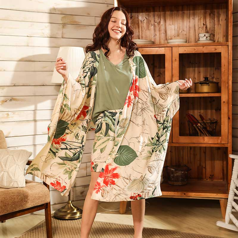 Women Fresh Style 4Pcs Pajama Set Soft Wide Sleeve Loose Cardiagn+Vest+Shorts+Pants Sleepwear Suit Ladies Homewear Casual Wear