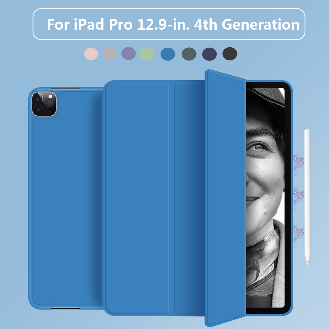 With Pencil Holder Cover For iPad Pro 12 9 2020 Case 4th Generation Multi Fold PU