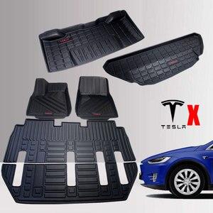 TPO автомобильные коврики для Tesla Model X TPO передние и задние черные 6/7 сидений подходят для всепогодных ковров водонепроницаемый прочный