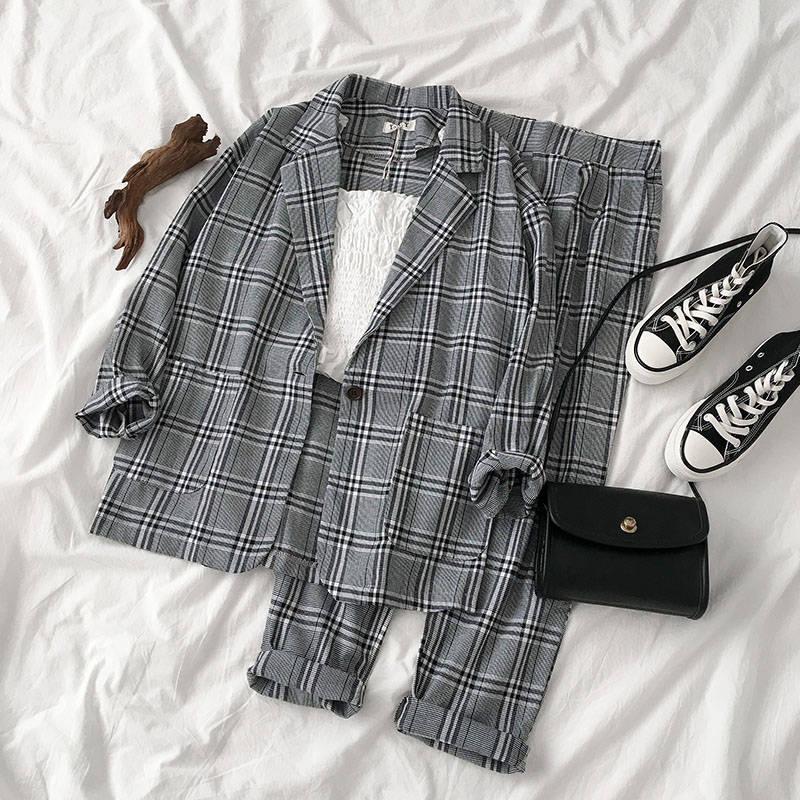 Fashion Suit Two-piece Suit Female 2019 Summer New Korean Version Of The Plaid Thin Coat + Pants Suit