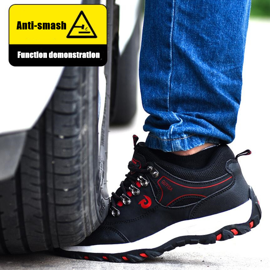 DM23 Steel toe cap Anti-smash Anti-piercing Safety work shoes High Quality Waterproof Leather Sneakers Outdoor Male Hiking Boots image