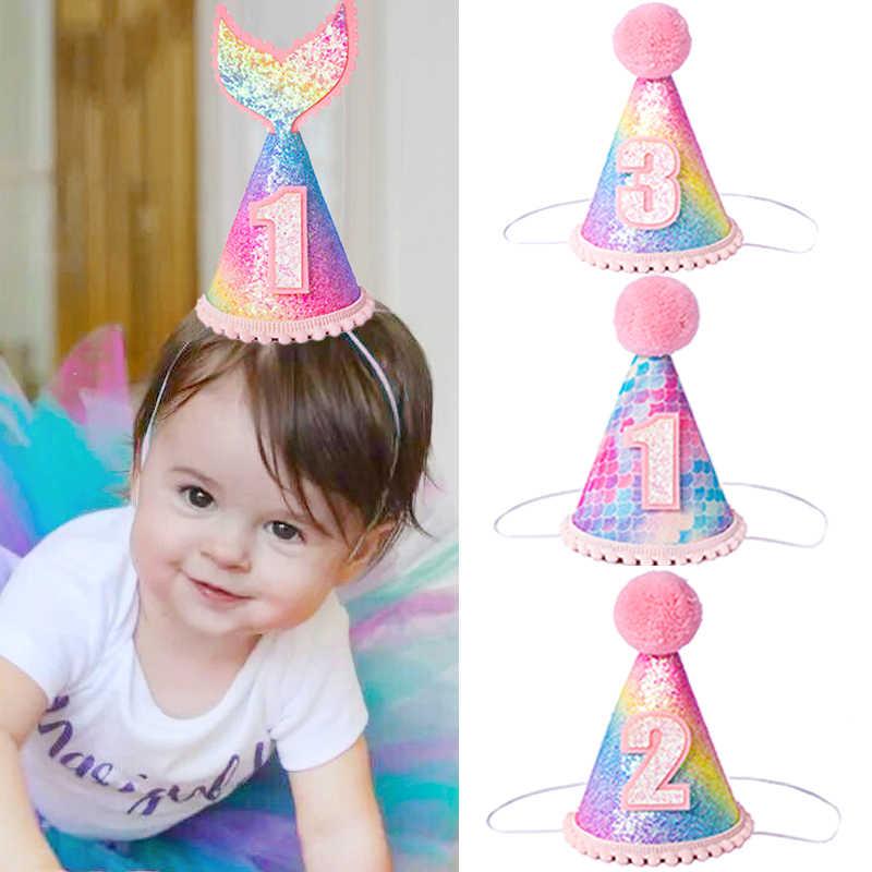 レインボーグラデーションマーメイドテールパーティー帽子グリッター魚スケールミニ誕生日プリンセスクラウン帽子子供の誕生日の装飾用品